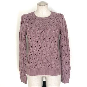 LOFT Wave Weave Knit Sweater Crewneck Mauve Size S